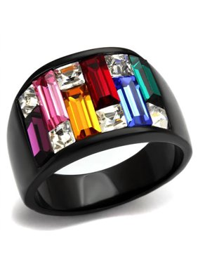 4.68 Ct Multi-Color Crystal Black Stainless Steel Cocktail Ring Women's Size 9