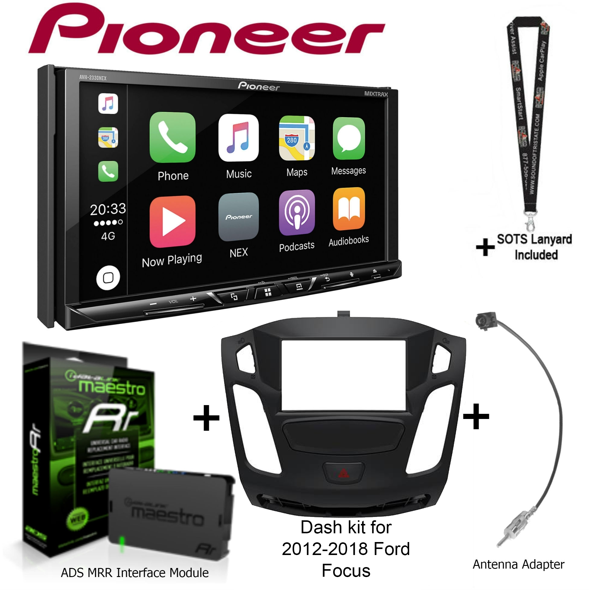 "Pioneer AVH-2330NEX 7"" DVD Receiver, iDatalink Maestro KIT-FOC1 Dash kit for 2012-2018 Ford Focus, ADS-MRR... by Pioneer"