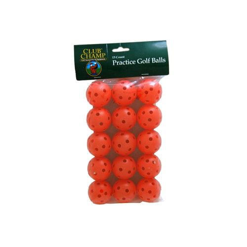 Club Champ 15-Pack Practice Golf Balls with Holes, Orange