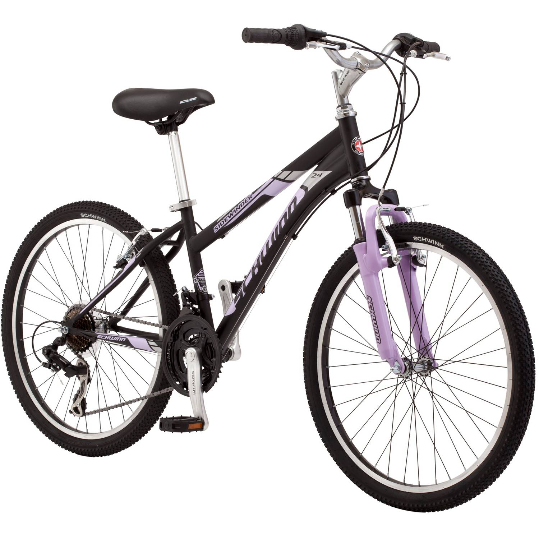 "24"" Schwinn Sidewinder Girl's Mountain Bike, Black/Pink"