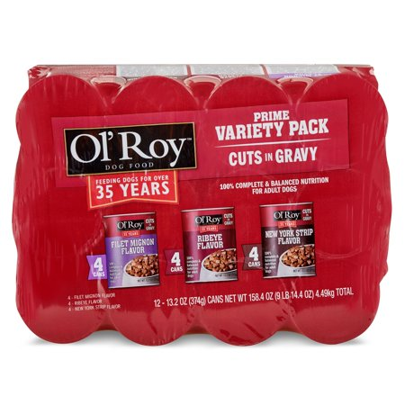(2 pack) Ol' Roy Prime Variety Pack Cuts in Gravy Wet Dog Food, Filet Mignon, Ribeye, New York Strip, 12 Count