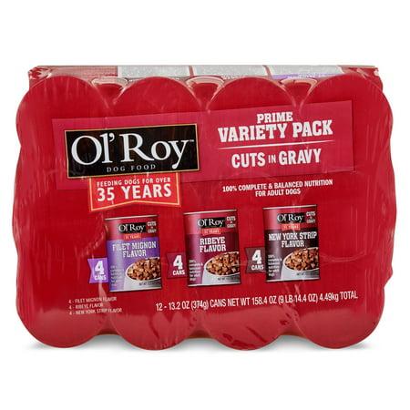 (2 pack) Ol' Roy Prime Variety Pack Cuts in Gravy Wet Dog Food, Filet Mignon, Ribeye, New York Strip, 12 Count