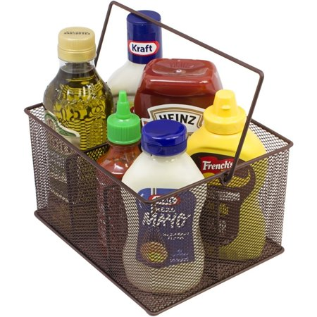 Sorbus Utensil Caddy - Silverware, Napkin Holder, and Condiment Organizer - Multi-Purpose Steel Mesh Caddy (Brown)