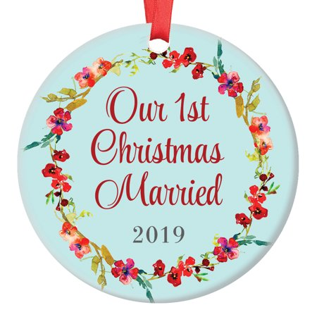 Our 1st Christmas Married Ornament Newlyweds First Xmas Tree Gift Idea for New Husband & Wife, Mr and Mrs, 3