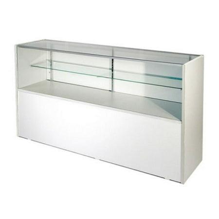 RETAIL GLASS DISPLAY CASE HALF VISION WHITE 4' SHOWCASE