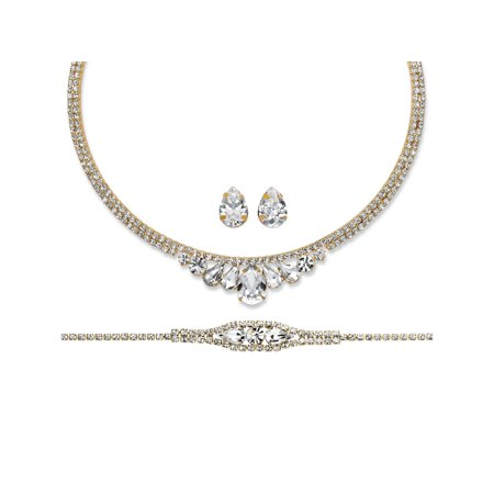 Pear-Cut and Round Crystal 3-Piece Wraparound Tiara-Inspired Necklace, Bracelet and Stud Earrings Set in Gold Tone - Necklaces And Bracelets