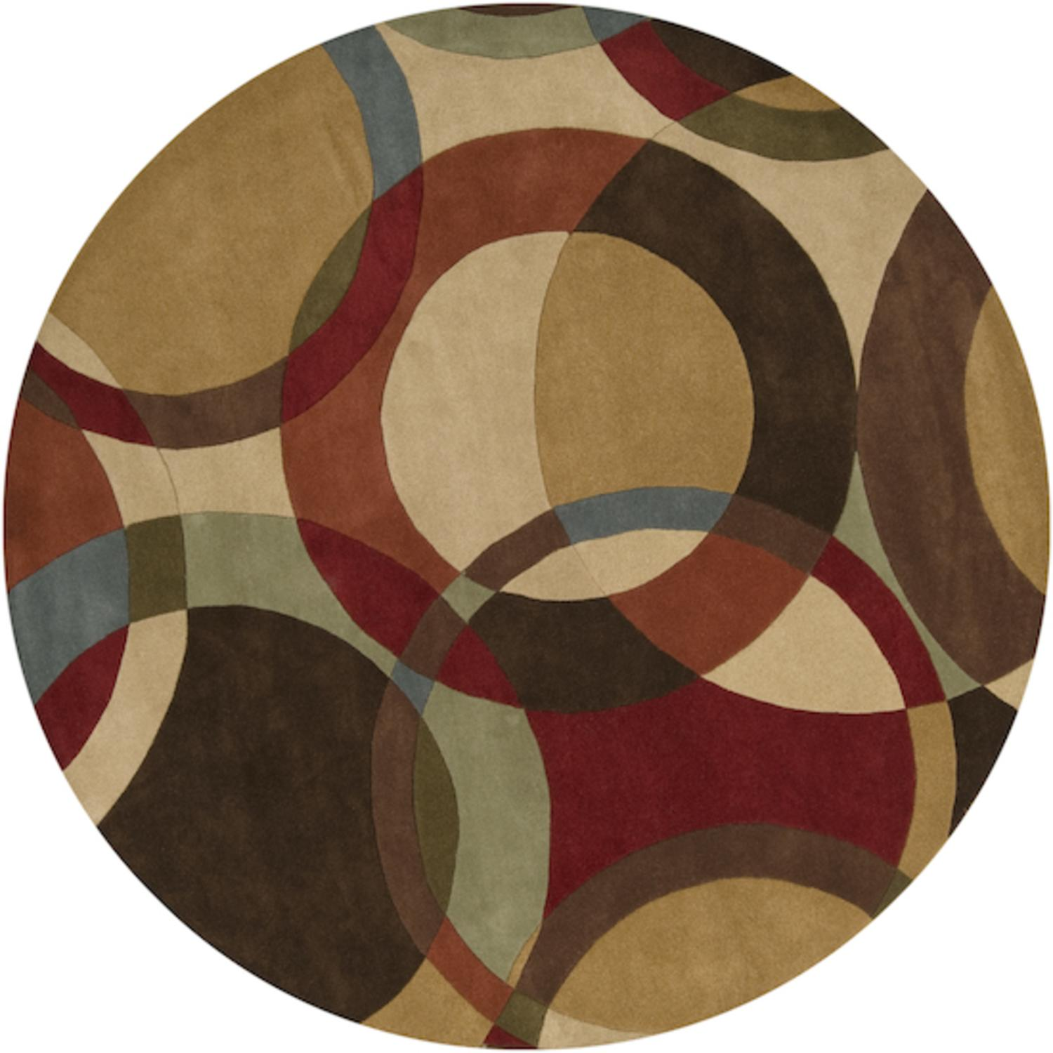 4' Modern Senzei Spheres Sienna Red and Brown Wool Round Area Throw Rug