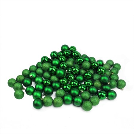 96ct Xmas Green 4-Finish Shatterproof Christmas Ball Ornaments 1.5