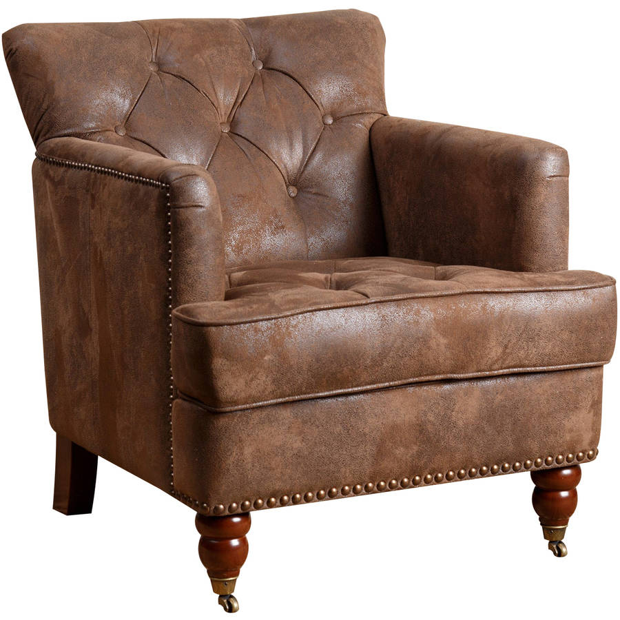 Devon & Claire Dover Antique Brown Fabric Club Chair