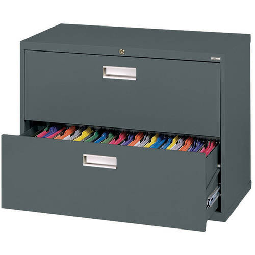 "Sandusky Lee 600 Series 36"" 2-Drawer Lateral File, Charcoal"