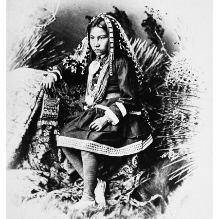 Apache Girl 1886 Na Chiricahua Apache Girl The Granddaughter Of Cochise Photographed In Traditional Costume 1886 Poster Print By Granger Collection