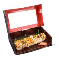 """Paper Take-Out Boxes - Sushi Box with Window - Rectangle - 8"""" x 4.7"""" - Large - 200 Count Box"""