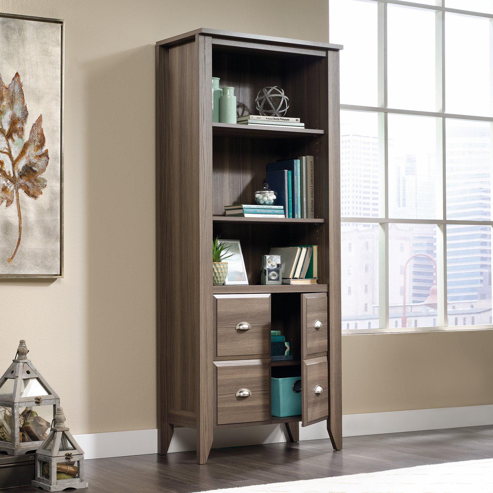 3 Shelf Office Library Room Wood Bookcase Adjustable Shelves With Door  Storage