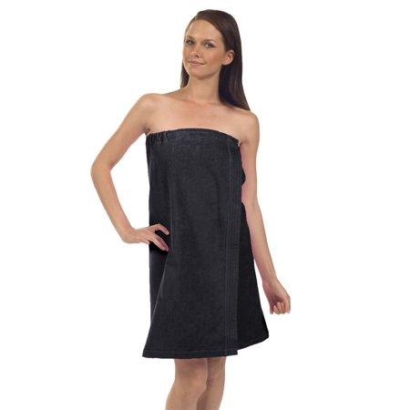 Women's Premium Terry Velour Spa Wrap-Black (Set of 2 Wraps) 2 Ply Velour Terry