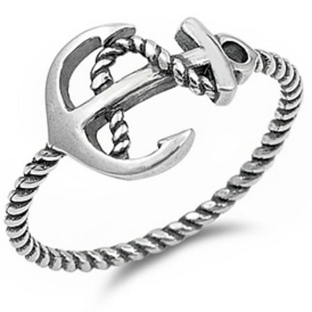 Plain Anchor Rope .925 Sterling Silver Ring Sizes 3-11