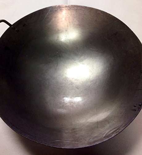 16 inch Carbon Steel Hand Hammered Wok (wok ring not included), Carbon steel wok with two loop handles. By Wok... by