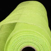 """Lime Green and Silver Deco Mesh Craft Ribbon 21"""" x 40 Yards"""