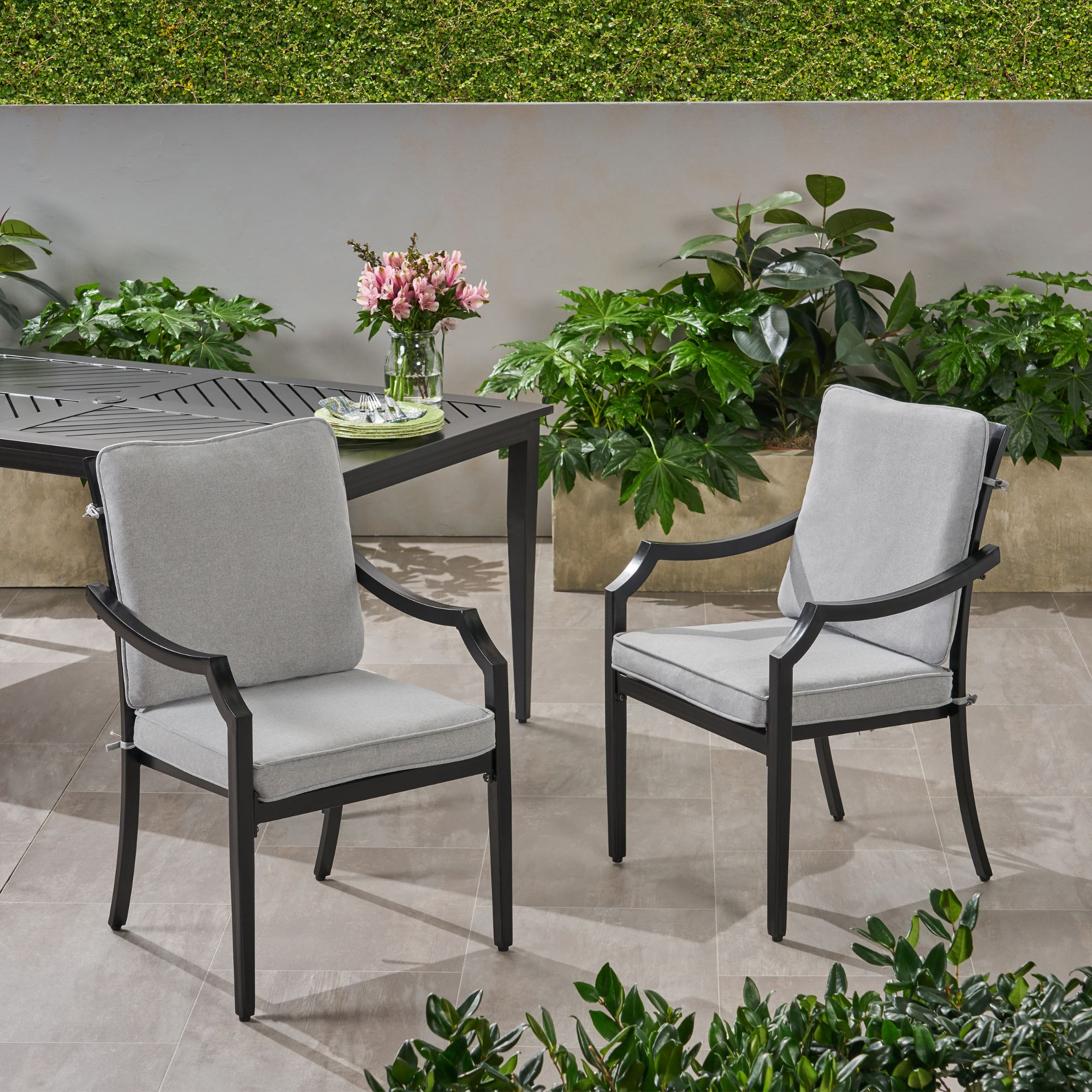 Set Of 2 Black Contemporary Outdoor Furniture Patio Dining Chairs Abalone Gray Cushions Walmart Com Walmart Com