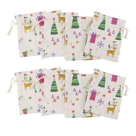 Natural Linen Jute Burlap Small Simple Sack Pouch Drawstring Gift Bag 10 x 14cm Xmas Pattern Jewery Bag Wedding Favor - Gift Sack