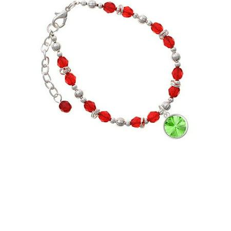 12mm Crystal Rivoli - Lime Green Red Beaded Bracelet