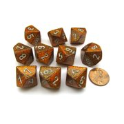 Chessex Pack of 10 Glitter D10 Dice - Gold with Silver Numbers #27303