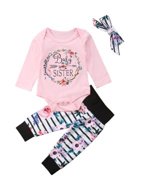 Newborn Baby Girl Sister Tops Romper Floral Pants Outfits Set Clothes