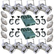 8 Silver PAR CAN 56 300w PAR56 WFL 2 Dimmer C-Clamps