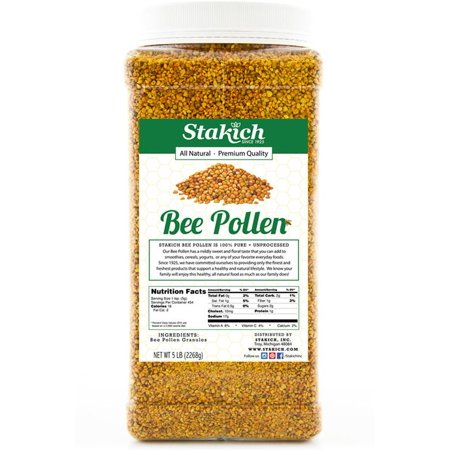 Stakich Natural, Unprocessed Bee Pollen Granules, 5.0