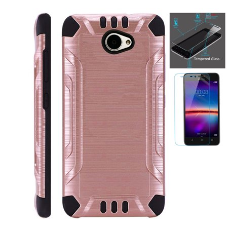For Huawei Ascend XT2 / Huawei Ascend XT 2 / Huawei Elate 4G Case + Tempered Glass Slim Dual Layer Brushed Metal Texture Hybrid TPU Combat Phone Cover (Rose Gold/Black)](body glove for the huawei ascend xt)