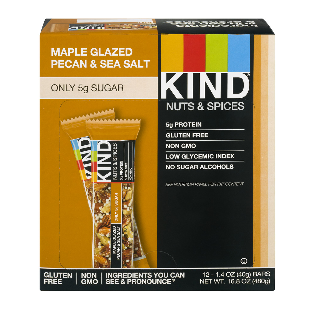 KIND Nuts & Spices Bars, Maple Glazed Pecan & Sea Salt, 1.4 oz, 12 Count