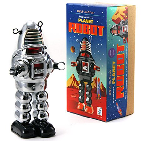 Vintage Style Collectible Wind Up Chrome Planet Robot Wind Up 8.5