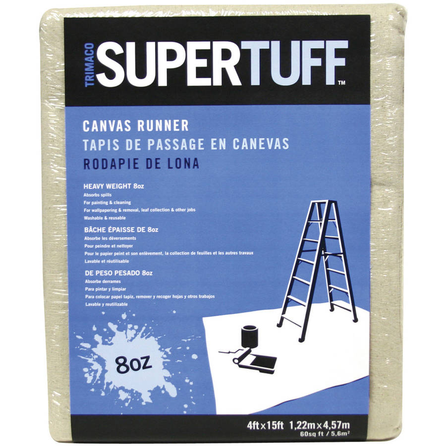 Trimaco 58908 4' x 15' 8 Oz SuperTuff Heavyweight Canvas Runner