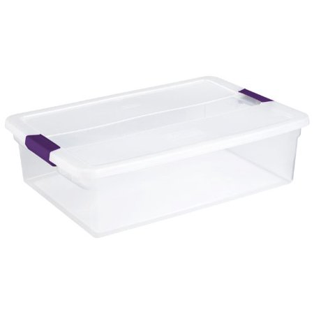 Sterilite 32 Quart Clear View Storage Container With Plum Handles