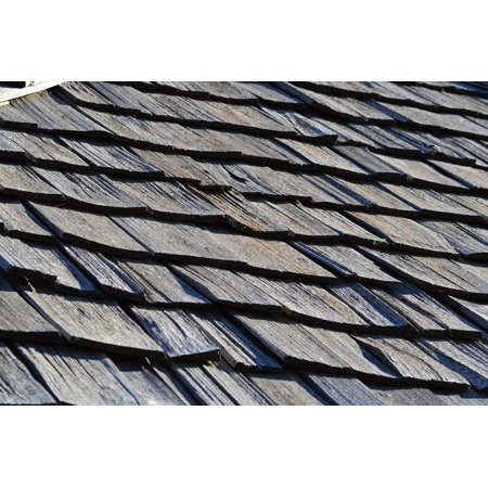 Canvas Print Wood House Shingles Roof Roofing Wooden Rooftop Stretched Canvas 10 x (Best Dremel Roofing Shingles)
