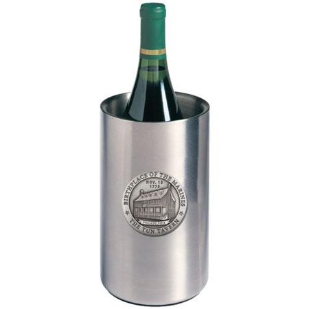 Marines Tun Tavern Wine Chiller   Double Wall Insulated Stainless Steel   Detailed Fine Pewter Medallion   1 Piece