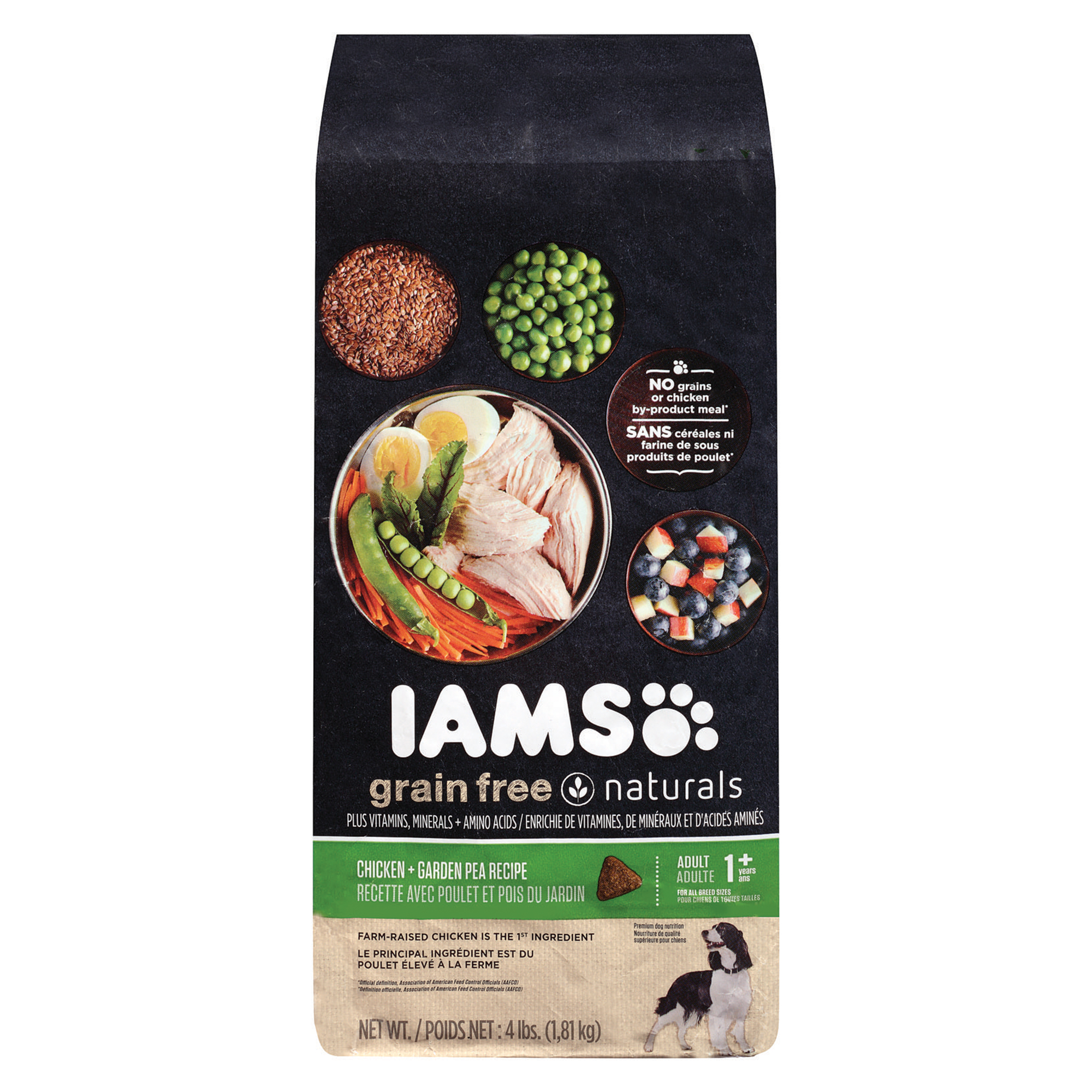 IAMS GRAIN FREE NATURALS Adult Chicken and Garden Pea Recipe Dry Dog Food 4 Pounds