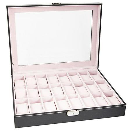 Watch Organizer - Ktaxon 24 Slot Leather Watch Box Case for Men Jewelry Storage Organizer for Women