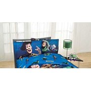 """Disney Toy Story """"Don't Toy with Us"""" Excellent Bedding Set Kids Dark Blue Full Sheet Set"""