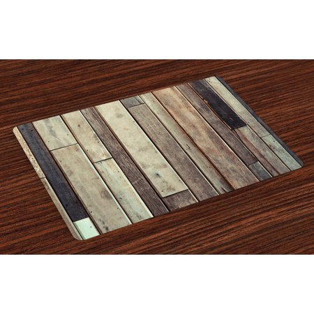 Wooden Placemats Set of 4 Antique Planks Flooring Wall Picture American Style Western Rustic Panel Graphic Print, Washable Fabric Place Mats for Dining Room Kitchen Table Decor,Brown, by Ambesonne