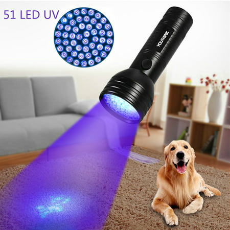 HURRISE UV Flashlight 100/51 Bulbs 395-400nm Ultraviolet Black Light Torch Light For Dog Urine, Stains,