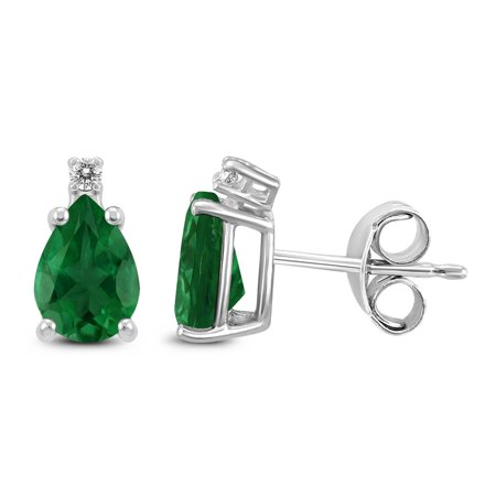 Emerald Diamond Pearl - 14K White Gold 5x3MM Pear Emerald and Diamond Earrings