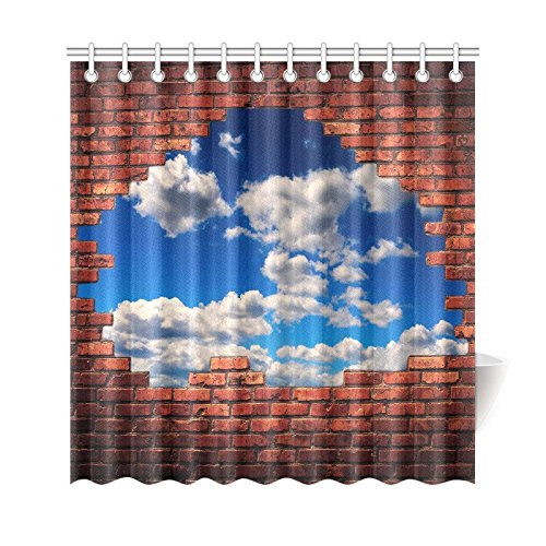 GCKG Old Grunge Brick Wall Shower Curtain White Clouds Blue Sky
