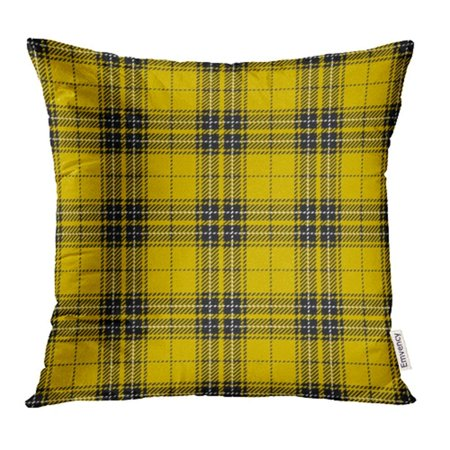 EREHome Abstract Yellow and Black Tartan Plaid Scottish Woven Pattern Checkered Clan Culture Pillowcase Cushion Cases 16x16 inch - image 1 de 1
