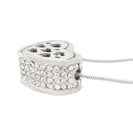 Rhinestone Encrusted Heart Necklace / Pendant Polished Chrome - image 2 de 5