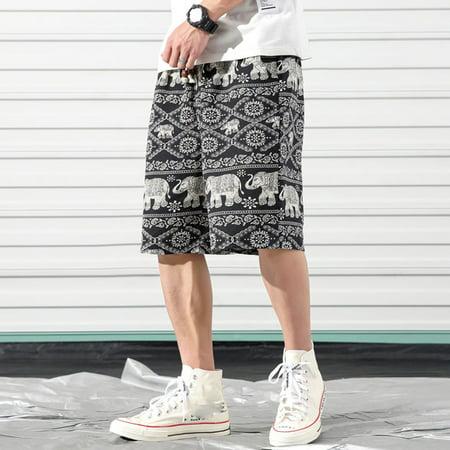 Men Beach Shorts Summer Fifth Pants Elephant Print Ethnic Style Pockets Casual Loose Plus Size M-5XL Color:K3517 Size:XXXXXL - image 6 de 8