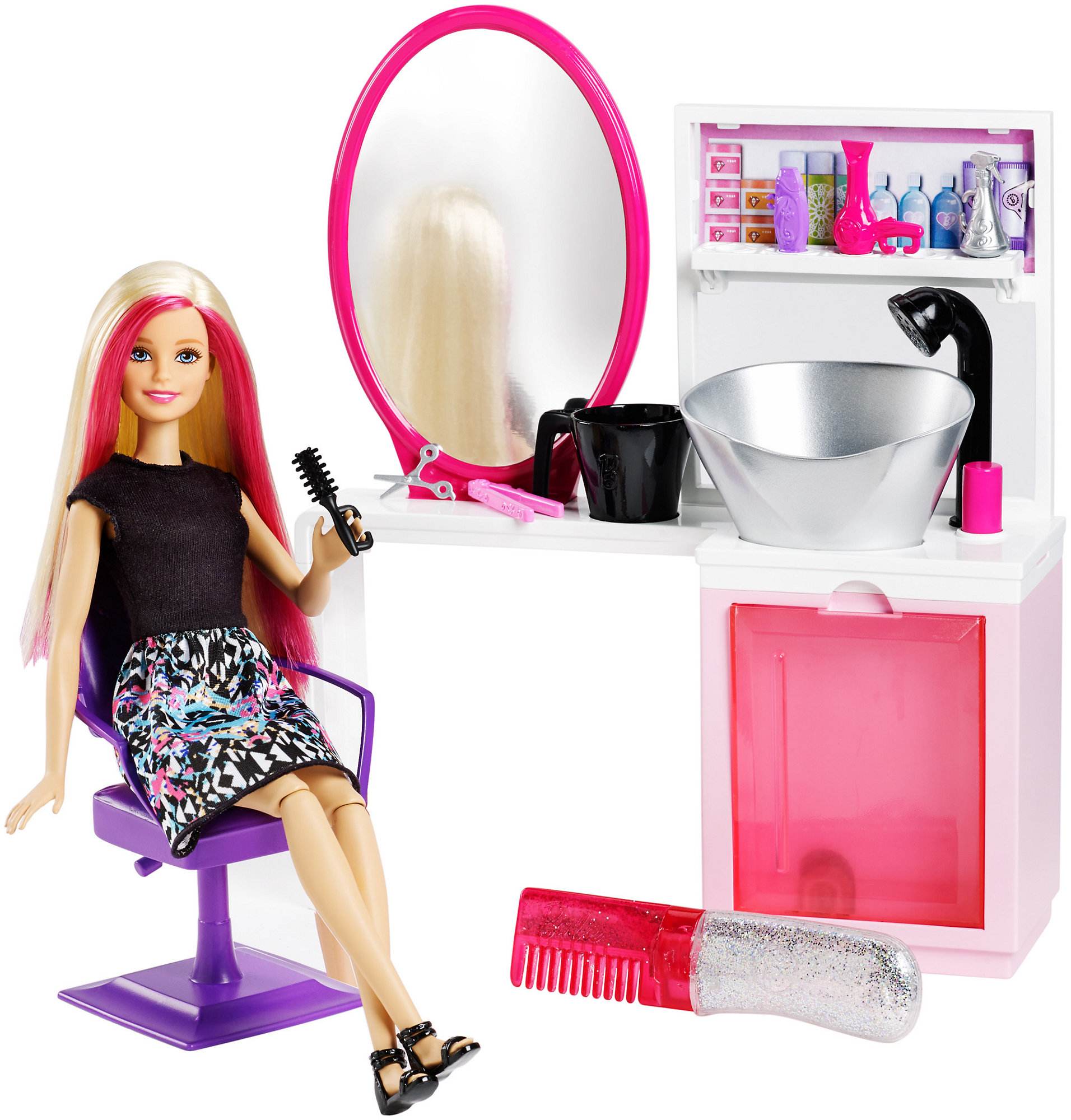 Barbie Sparkle Style Salon Doll & Playset - Blonde - Walmart.com