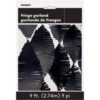 Tissue Paper Fringe Streamer Garland, 9 ft, Black, 1ct
