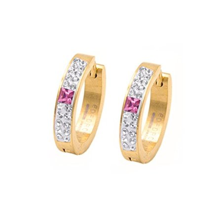 - Edforce 18k Gold Plated 18 Round Gemstones Hot Pink Gemstone Huggie Hoop Earings 20mm
