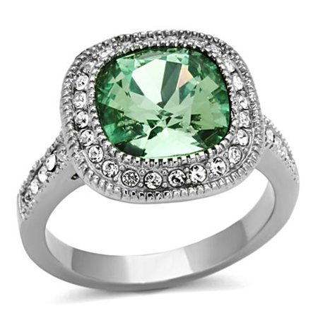 4 CT EMERALD COLOR CUSHION CUT CZ STAINLESS STEEL HALO ENGAGEMENT RING Size 8