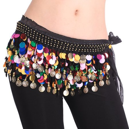 BellyLady Belly Dance Hip Scarf With Paillettes, Gold Coins Belly Dance skirt-Black](Plus Size Hip Scarf)